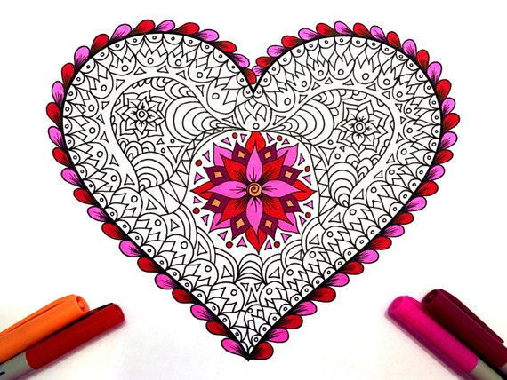 Lace heart pdf zentangle coloring page