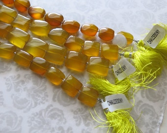 """Honey Chalcedony, ONE STRAND 8"""" Strand, Oval, Rectangular OR Square, Gorgeous Deep Honey Amber Color"""