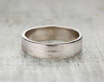 6mm Wedding Ring - Mens Square Wedding Band Textured Birch Bark Wedding Ring in Palladium, Rose Gold, Yellow Gold, White Gold or Platinum