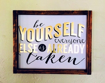 gold-white-print-framed-home decor-be yourself-gifts for women-bedroom-bathroom-typography-metal-sign-quote
