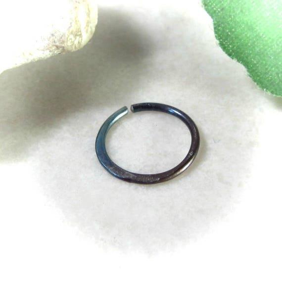 Nose Rings Hammered Niobium Rainbow Hoop Hammered Nose Ring
