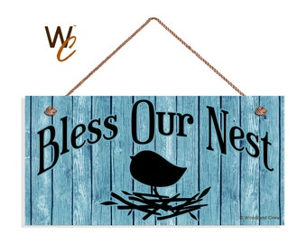 "Bless Our Nest Sign, Shabby Door Sign, Glacier Blue Wood Background,  5"" x 10"" Sign, Bird and Nest Wall Plaque, Signs by Woodland Crew"