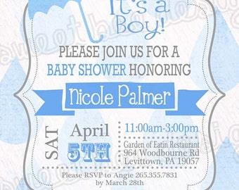 Printable Baby Shower Raining Umbrella Invitations - Custom Printable BOY OR GIRL