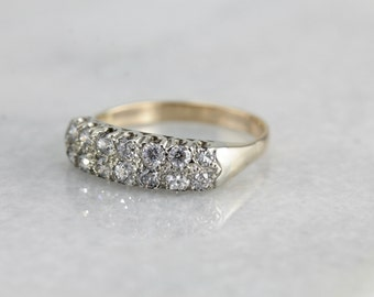 1930's Old Cut Diamonds, Double Row Diamond Wedding Band or Anniversary Ring of Yellow and White Gold  PCY8PD-R