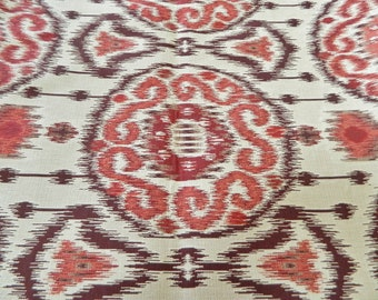 Kravet Ikat 31393 916 Fabric - Red and Burgundy-Decorative Throw Pillow Cover / Suzani, Medallion, Damask Southwest / Woven Jacquard Fabric