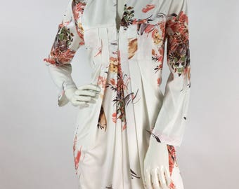 70s vintage floral polyester maxi, 1970s long sleeve maxi