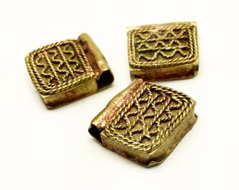 3 Ethiopian gold washed brass Telsum, 17x17mm antique beads, jewelry making supplies