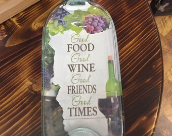 Good Food, Good Wine, Good Friends, Good Times - Message-In-A-Bottle Table Decor.
