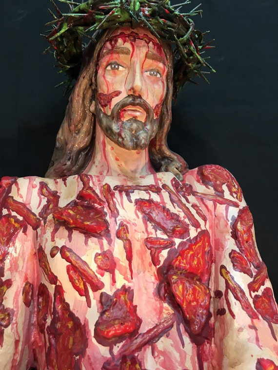 "Scourged Jesus 36"" fiberglass statue -  May His Precious Blood wash us clean."