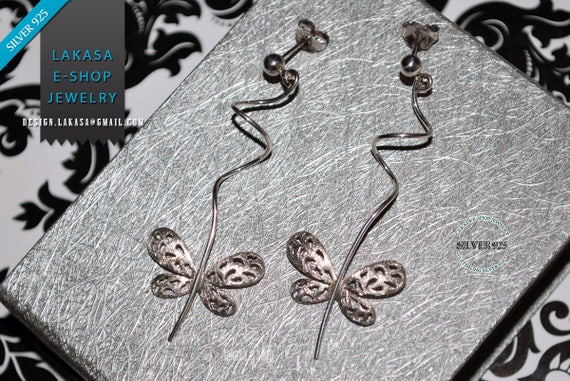 Butterfly Earrings Sterling Silver white Gold-plated Handmade Jewelry Anniversary Birthday Woman Christmas Best Gift Beauty Romantic Style