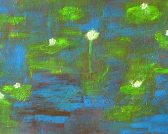 """Water Lilies Painting Water Reflections Lake Night Blue Green Painting Gouache On Paper Flower Painting Impressionist Landscape 7x10"""""""