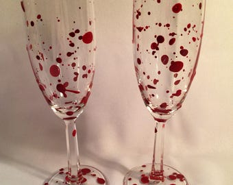 BloodSpattered Champagne Glasses as a SET