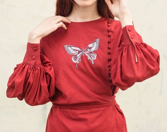 embroidered blouse, butterfly embroidery blouse, 1960s vintage, inspired from vintage, handmade blouse, embroidery blouse, big sleeves, M