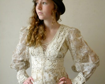 Fab 70s Vintage Gunne Sax Dress / Brown Floral Maxi / Corset Top / XS / Teen Dress