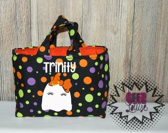 Personalized Halloween Trick or Treat Bag Monogram Candy Ghost Skull Bat Pumpkin Costume Orange Black Unicorn First Witch
