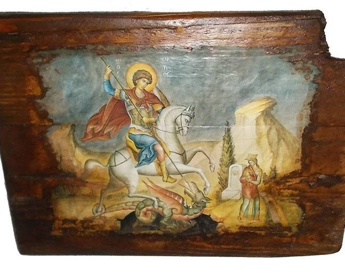 Decoupage christian orthodox,Custom made Orthodox icon,Saint George ,Religious icon,Vintage Orthodox icon of Saint George ,Byzantine icon