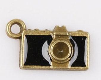 charms camera black enamel jewelry supplies bracelet earring findings  quantity  5  SEW100