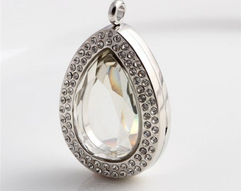 Silver Teardrop floating locket, Facted Glass Locket, Memory Locket, Floating Lockets With Clear Crystals