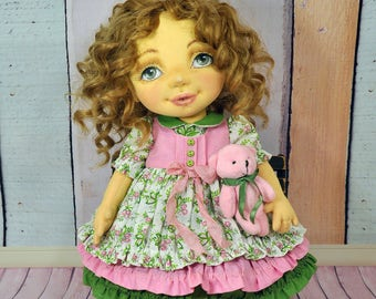 Textile  ooak doll decorative doll collector dolls cotton rag doll