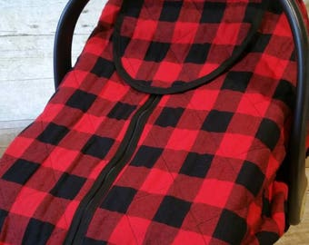 Winter Carseat Cover Polar Line in Red & Black Buffalo Check