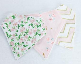 Bandana Bib Set - Bibdana - Drool Bib - Floral Bibs - Coral and Gold and Green - Ready to Ship - Gift Set of 3 bibs