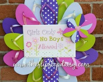 """Adorable """"Girls Only"""" Flip Flop Wreath Door Wall Decor Unique Gift Bedroom"""