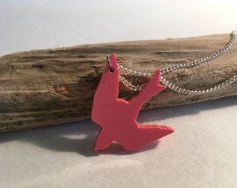 Coral pink swallow necklace