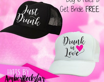 Just Drunk Hats - FREE white BRIDE Hat* - Perfect for Bachelorette Parties - Trucker hat