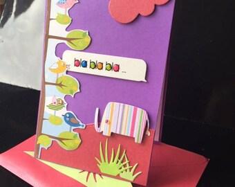 card child blah elephant and bird