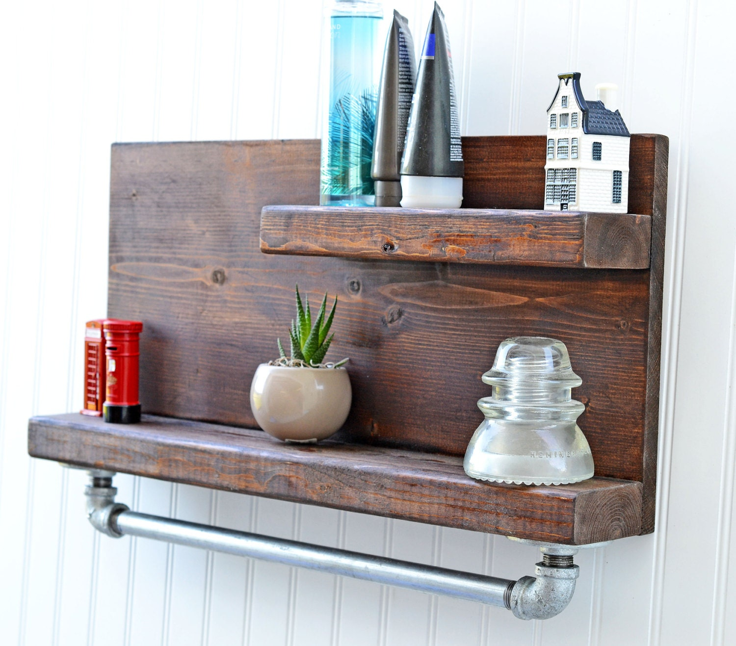 Rustic Wood Shelf Pipe Industrial Shelves