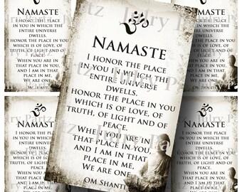 Buddha NAMASTE BOOKMARK,OM Bookmark, Rectangle Image ,Printable Digital Images, Cards, Gift Tags, Yoga, Meditation