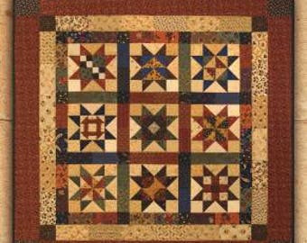 Country Charm Quilt Pattern - Homespun Quilts - Charm Pack Quilt Pattern - Wall Quilt Pattern - Sampler Quilt Pattern - Star Quilt Pattern
