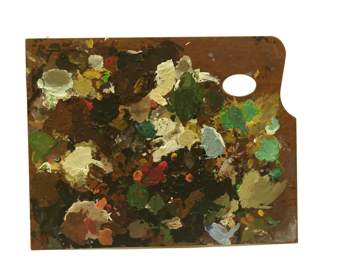 French Artist Palette. Vintage Craft Room and Studio Decor. Mid Century Modern Art. Gift For Artist and Painter.