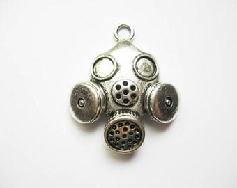 2 Gas Mask Pendants in Silver Tone - C1495