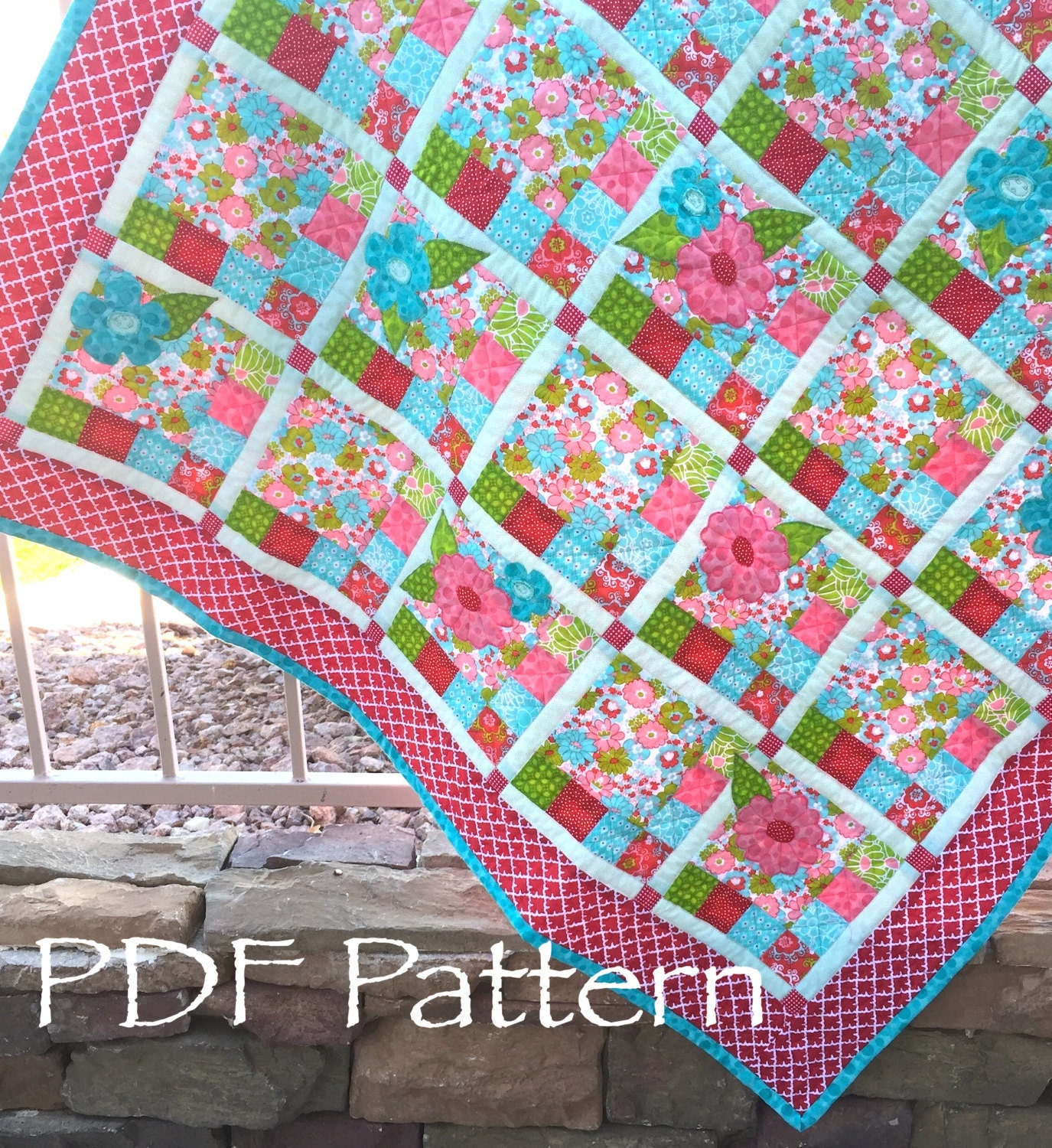 Flower Checked Quilt Pattern Baby Girl Quilt Pattern Pdf