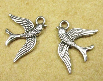 Swallow Bird Charm -25pcs Antique Silver Sparrow Charm Pendants 16x20mm A104-3