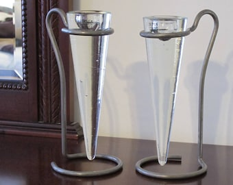 Vintage 1990s Pair of Design House Stockholm Glass and Gray Pewter Metal Candle Holders Modern Candlesticks Like New Condition