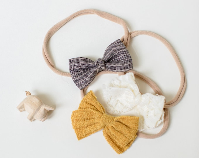 Featured listing image: Headband Set- The Indie Set | Golden Mustard, Ivory Lace and Striped Charcoal Linen Dainty Bows