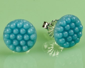 Vintage Turquoise Glass Dot Button Post Earrings