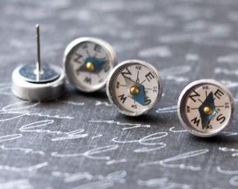 Compass Earrings, Tiny Mini Compass Stud Earrings, Steampunk Jewelry, Wearable Tech Earrings, Industrial Gadget Geekery Surgical Steel Studs