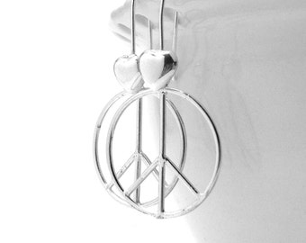 Large Peace Earrings, Sterling SIlver Peace Sign Earrings, Peace Heart Earrings, Peace Jewelry, Peace Sign Jewelry, Sterling Silver Jewelry