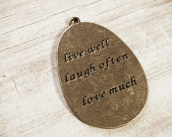 Quote Charm Quote Pendant Word Charm Word Pendant Bronze Charm Bronze Word Charm LIVE Well LAUGH Often LOVE Much Inspirational Charm Message