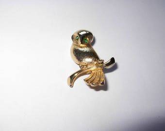 Vintage Owl Brooch or Pin Gold Plated with Green Glass Eyes 1980s