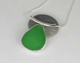 Bright Green Sea Glass Bezel Pendant Necklace Maine