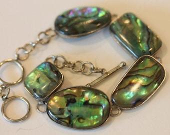"WC 925 sterling silver paua abalone shell link bracelet 8"""