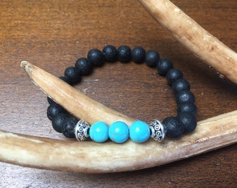 Essential Oil diffuser bracelet with black volcanic rock and turquoise howlite, aromatherapy, beaded bracelet, positive energy, gift giving