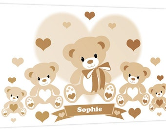 Personalised Teddy Bears & Hearts Children's Name - Bedroom Nursery Canvas Wall Art Print Picture - by Rubybloom Designs