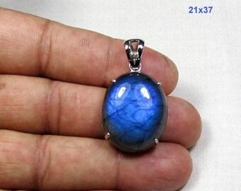 ON SALE 33.0 CT Labradorite Gemstone with Diamond & 925 Sterling Silver Pendant 21x37