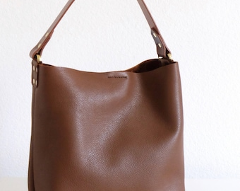 Caramel Brown Leather Hobo, Brown Hobo, Brown Leather Handbag, 100% Leather, Handmade, Travel Bag, Shopping Bag