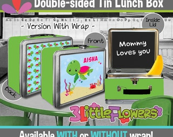 Personalized Sea Turtle Lunchbox - Personalized Metal Lunch Box Chalkboard inside - Double-sided Tin Lunch Box - Under the Sea Lunch Box